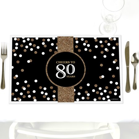 Adult 80th Birthday - Party Table Decorations – Gold Birthday Party Placemats - Set of 12
