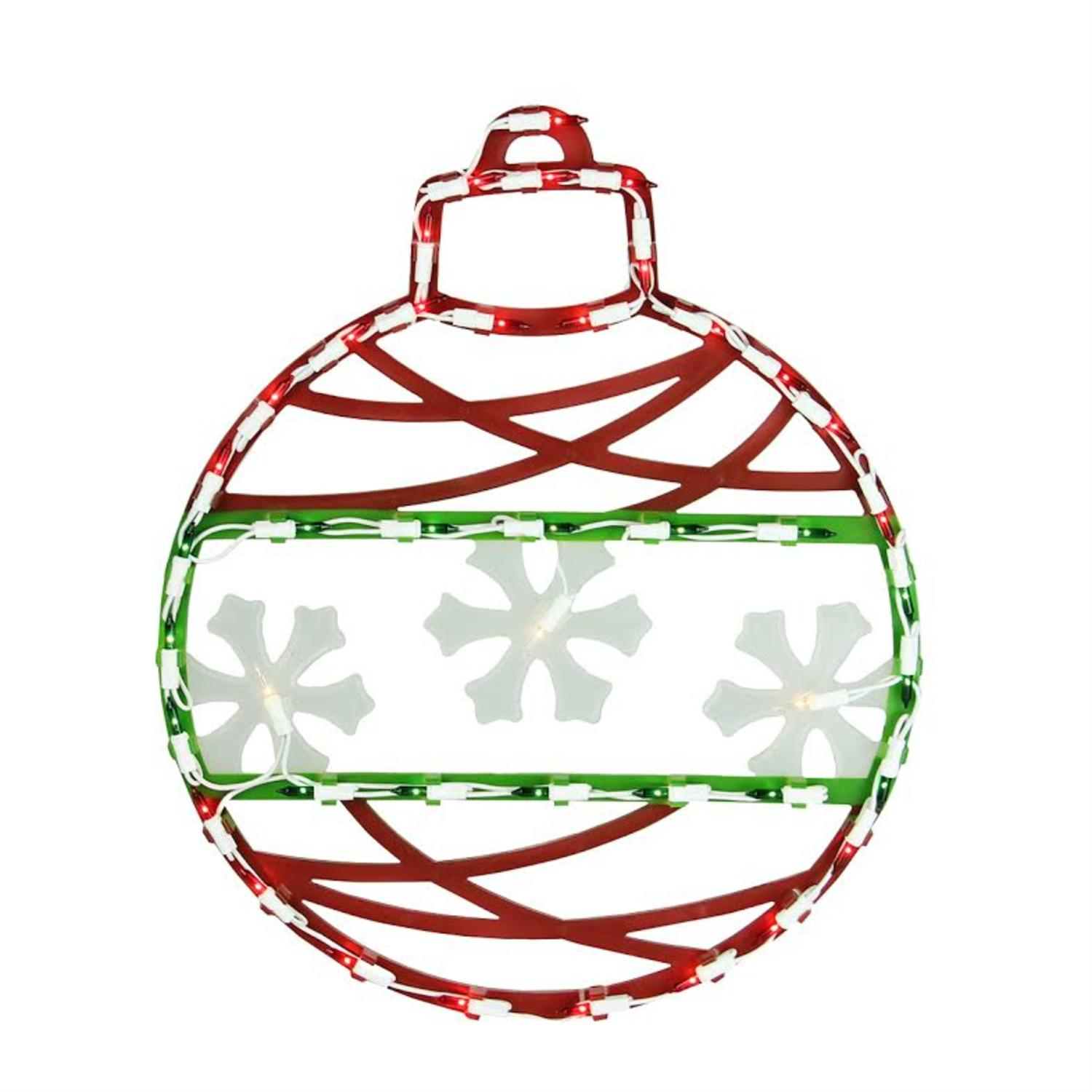 "17"" Red Green and White Lighted Christmas Ornament Window Silhouette Decoration"