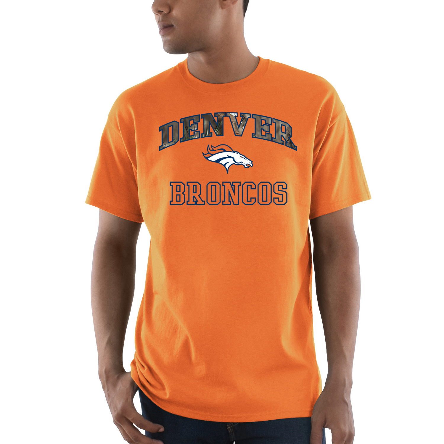 Denver Broncos Majestic Power Play Mossy Oak Camo T-Shirt - Orange
