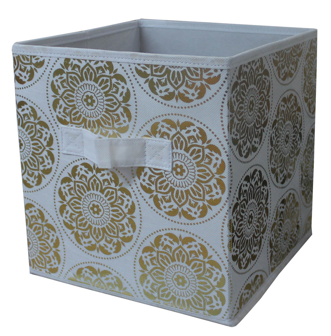 """Mainstays 10.5"""" x 10.5"""" Collapsible Cube Gold Medallion Storage Bins"""
