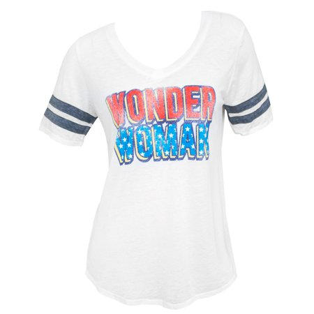 Wonder Woman Burnout Varsity Ladies White Tee Shirt (Wonder Woman Tee Shirt)