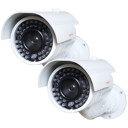 VideoSecu 2 Pack Home Dummy Fake Infrared LEDs Flashing Light Security Camera for CCTV Surveillance with Free Decal bbi