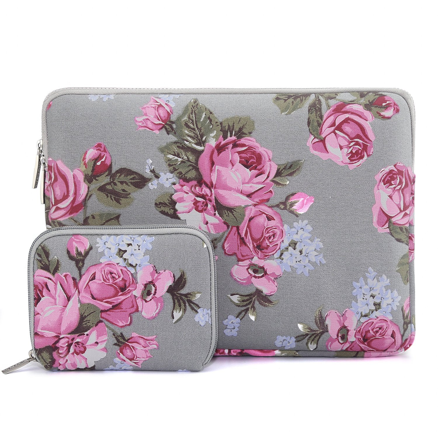 Mosiso 2017/2016 MacBook Pro 13 Inch Sleeve (A1706/A1708)/Microsoft New Surface Pro 2017/Surface Pro 4/3 Peony Pattern Canvas Laptop Bag Protective Carrying Cover with Small Case, Gray
