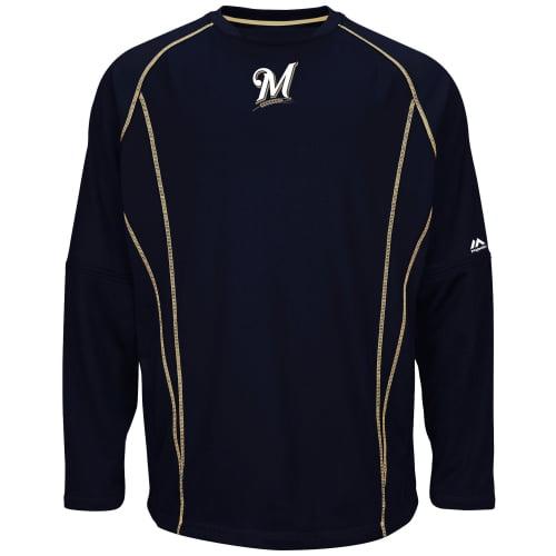 Milwaukee Brewers Majestic On-Field Practice Pullover Sweatshirt - Navy