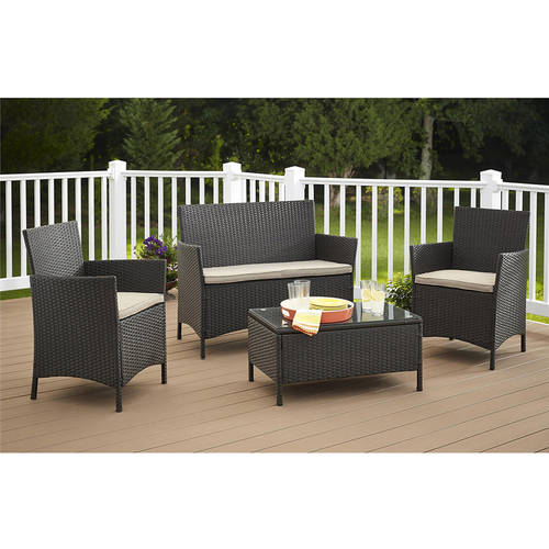 Cosco Outdoor Jamaica 4-Piece Resin Wicker Patio Conversation Set by Cosco