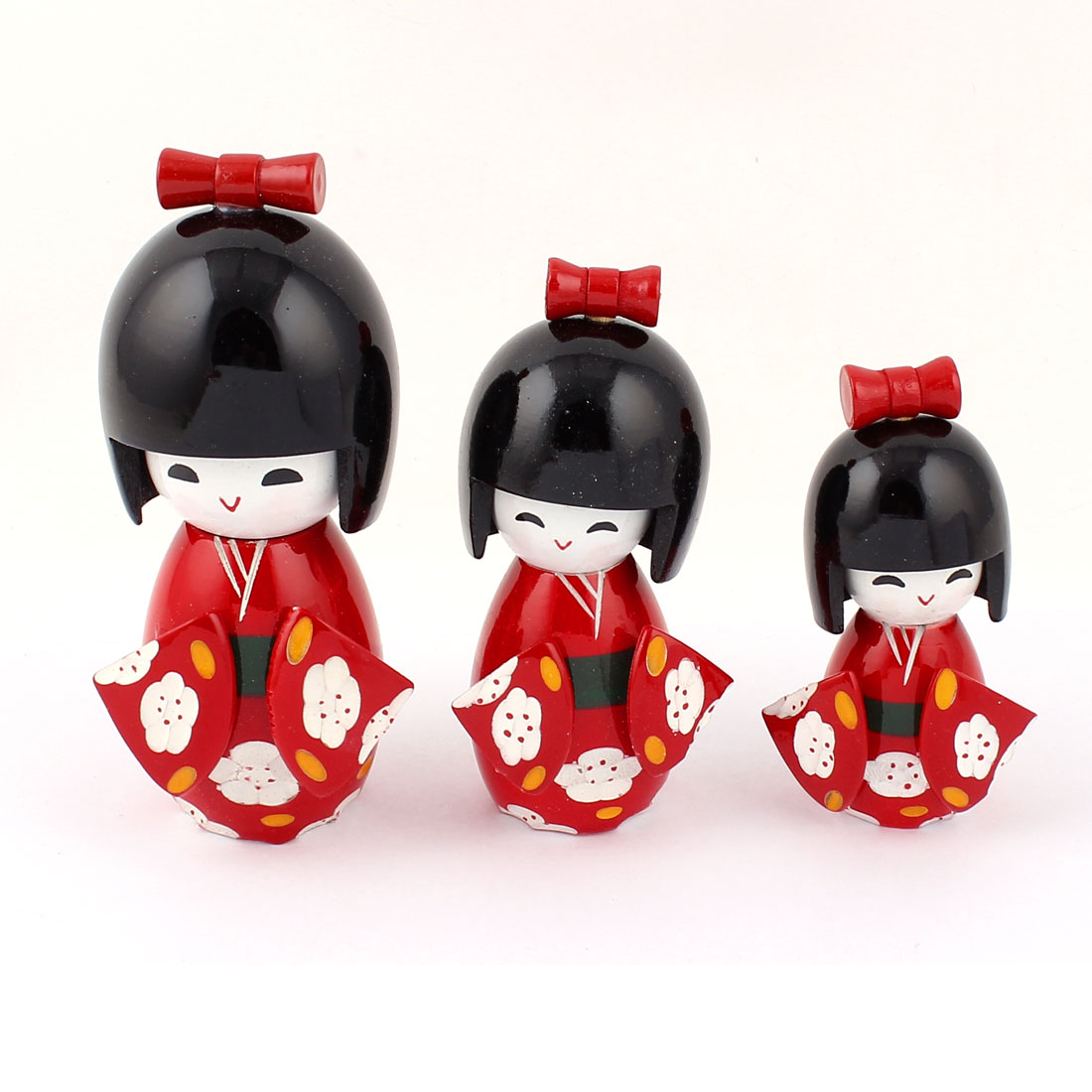 3 in 1 Wooden Flower Print Japanese Kimono Kokeshi Modelling Doll Decoration Red