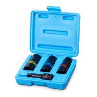 Capri Tools 1/2-Inch Drive Lug Nut Flip Impact Socket Set, SAE/Metric, CrMo, 4-Piece