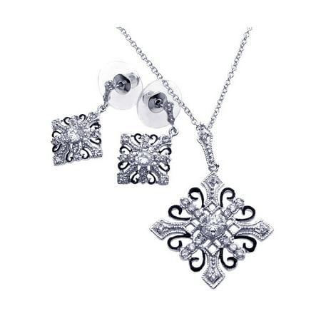 .925 Sterling Silver Rhodium &  Black Rhodium Plated Diamond Shape Cross Clear Cubic Zirconia Dangling Earring  Necklace Set Childrens Diamond Set Cross