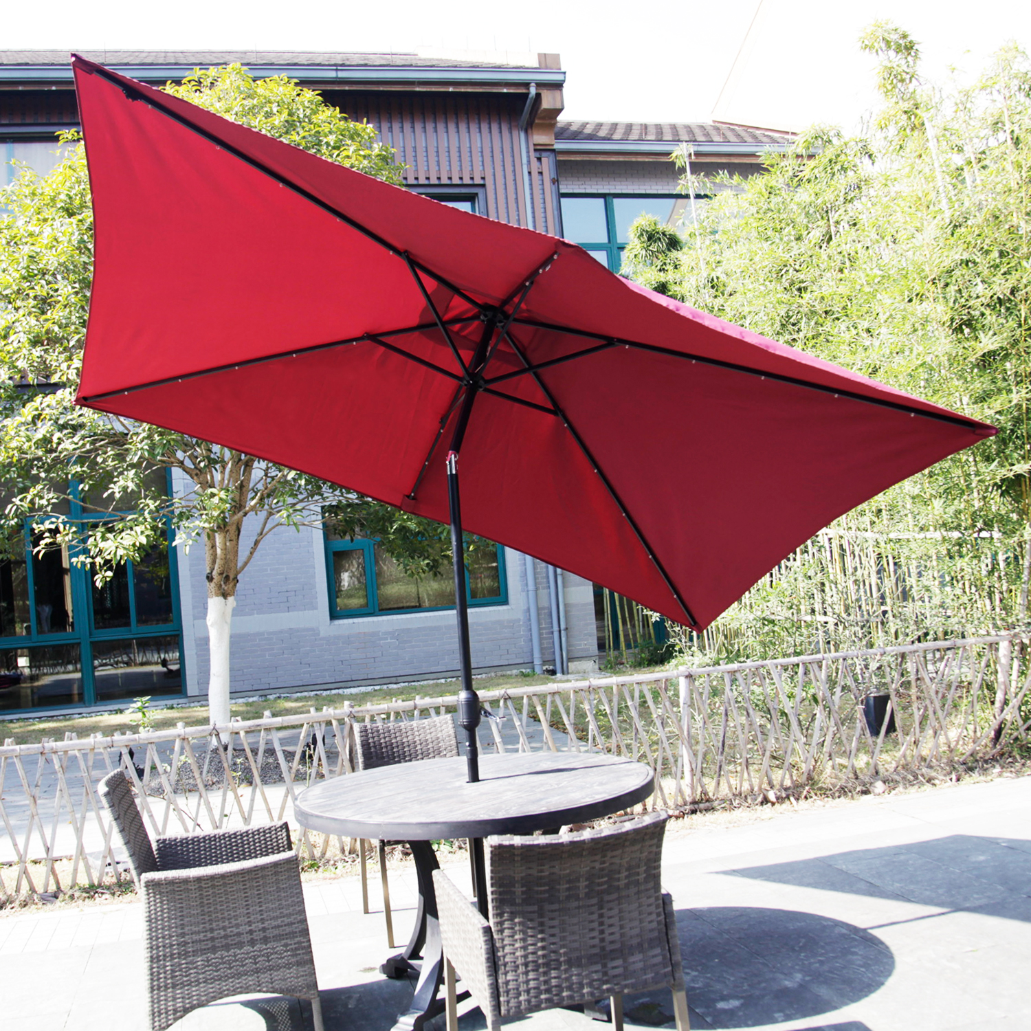 Kinbor Rectangular Outdoor Table Aluminum Solar Powered LED Lighted Patio Umbrella Window Awning  Garden Furniture 6 Metal Ribs Red