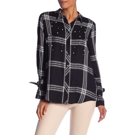 Laundry By Shelli Segal Embroidered Plaid Button Front Shirt Embroidered Button Front Shirt