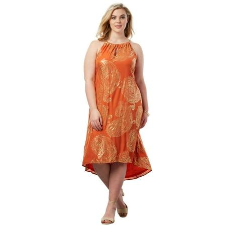 35c4ece8ffd Roaman s - Roaman s Plus Size High-low Paisley Dress With Chain Neckline -  Walmart.com