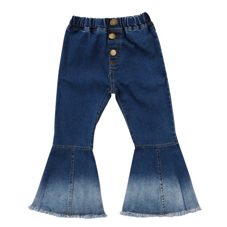 New Baby Kid Girls Wide Leg Bell Hem Denim Long Trousers Flare Pant 4-5 Year