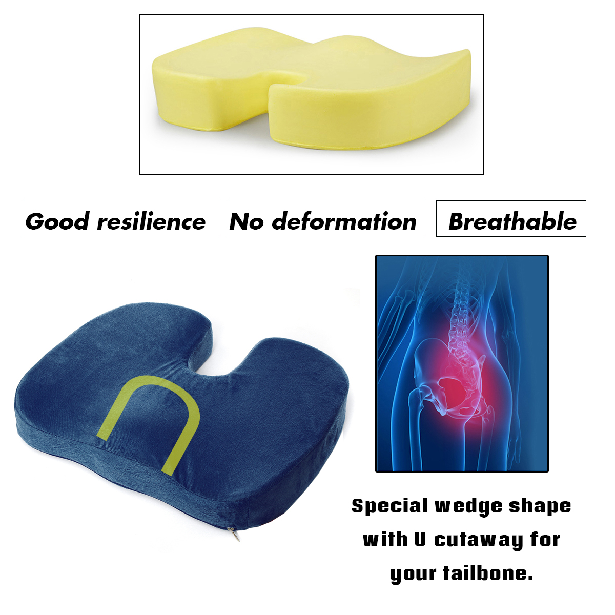 Package Included 1 X Memory Foam Pillow Back Lumbar