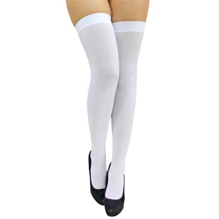 All White Opaque Thigh High Womens Stockings - Opaque White Thigh Highs