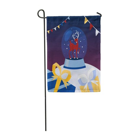SIDONKU Snow Globe Made of Glass Christmas Deer Inside Winter Garden Flag Decorative Flag House Banner 12x18 inch ()