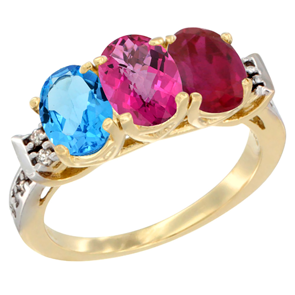 10K Yellow Gold Natural Swiss Blue Topaz, Pink Topaz & Enhanced Ruby Ring 3-Stone Oval 7x5 mm Diamond Accent, sizes 5 10 by WorldJewels