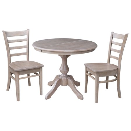 36 Round Dining Table With 12 Leaf And 2 Emily Chairs Washed