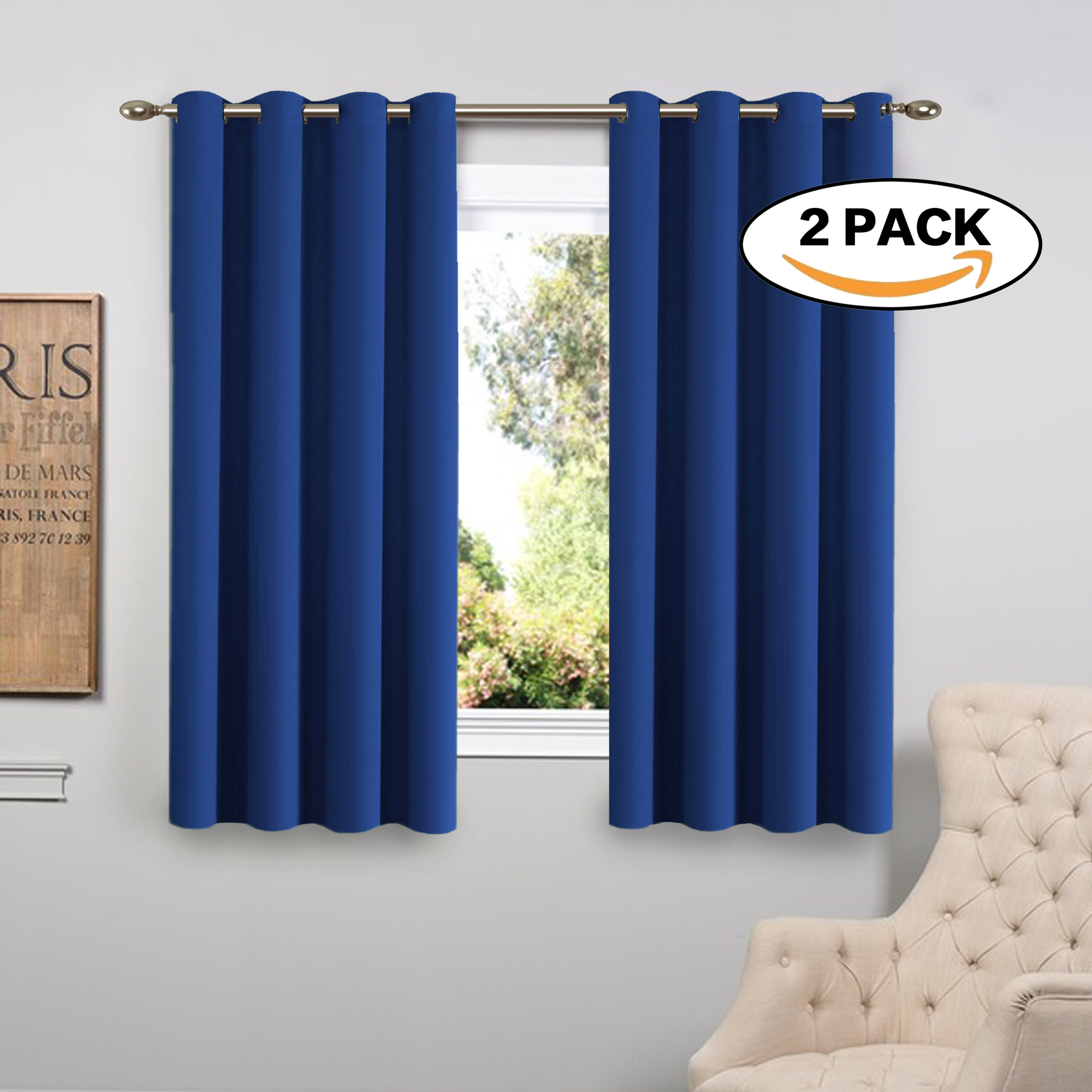 H Versailtex Solid Thermal Insulated Blackout Curtains Drapes