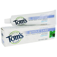 Toms Of Maine Whole Care With Fluoride Natural Toothpaste, Peppermint - 4.7 Oz, 6 Pack