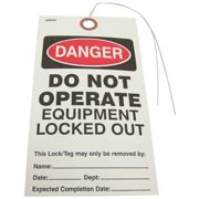 BADGER TAG & LABEL CORP 128 Danger DoNot Operate Tag, 3/16inHole, PK25