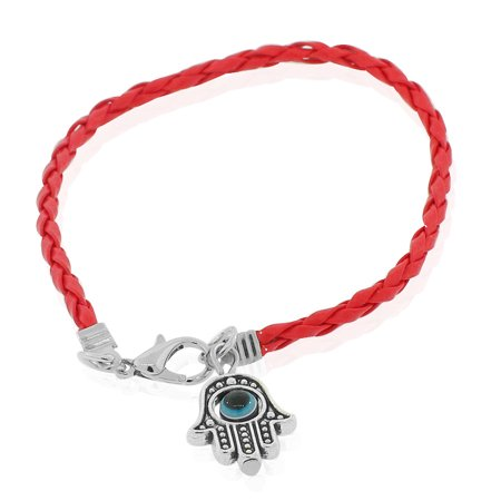 Fashion Alloy Red Faux Leather Hamsa Evil Eye Protection Bracelet, 7.5
