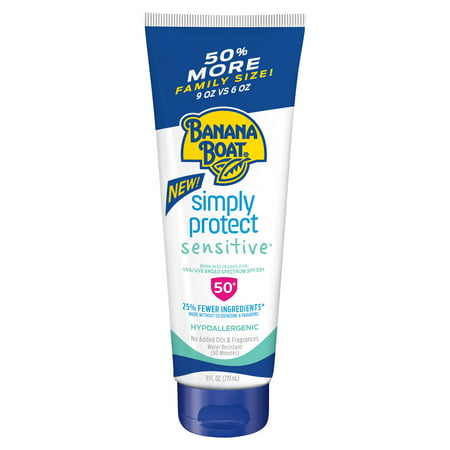 Banana Boat Simply Protect Sensitive Sunscreen Lotion SPF 50+, 9