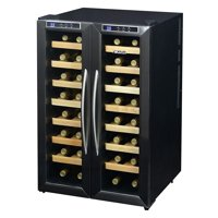 NewAir Silent Wine Cooler 32 Bottle Dual Zone Freestanding Fridge, AW-321ED Stainless Steel