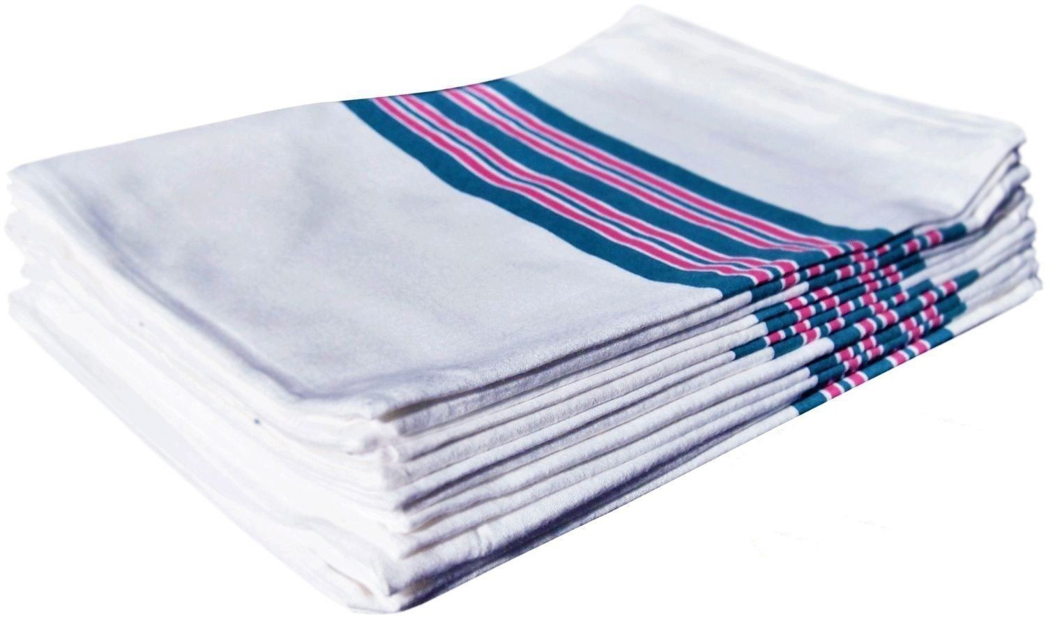 "GHP 24-Pcs White Blue Pink Stripes 30""x40"" Ultra Soft Cotton Receiving Blankets by Globe House Products"