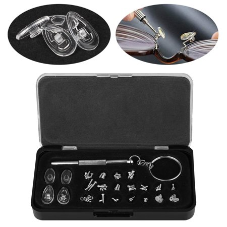 EEEkit Eyeglass Repair Kit - Eye Glasses Screw Kit,  Small Precision Eyeglass Screwdriver Set, Eye Glass Screws Assortment and Nose Pads for Glasses Repair ()