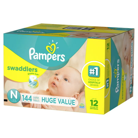 f9295844a Pampers Swaddlers Newborn Diapers Size N 144 count - Walmart.com