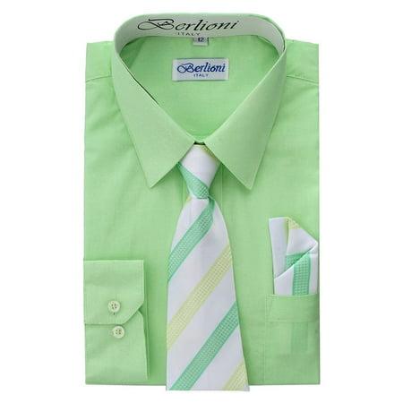 Dress Shirt Boys (Berlioni Kids Boys Long Sleeve Dress Shirt With Tie and Hanky)