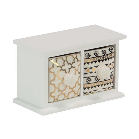 Decmode Modern 2 Drawer Wood And Ceramic Jewelry Storage