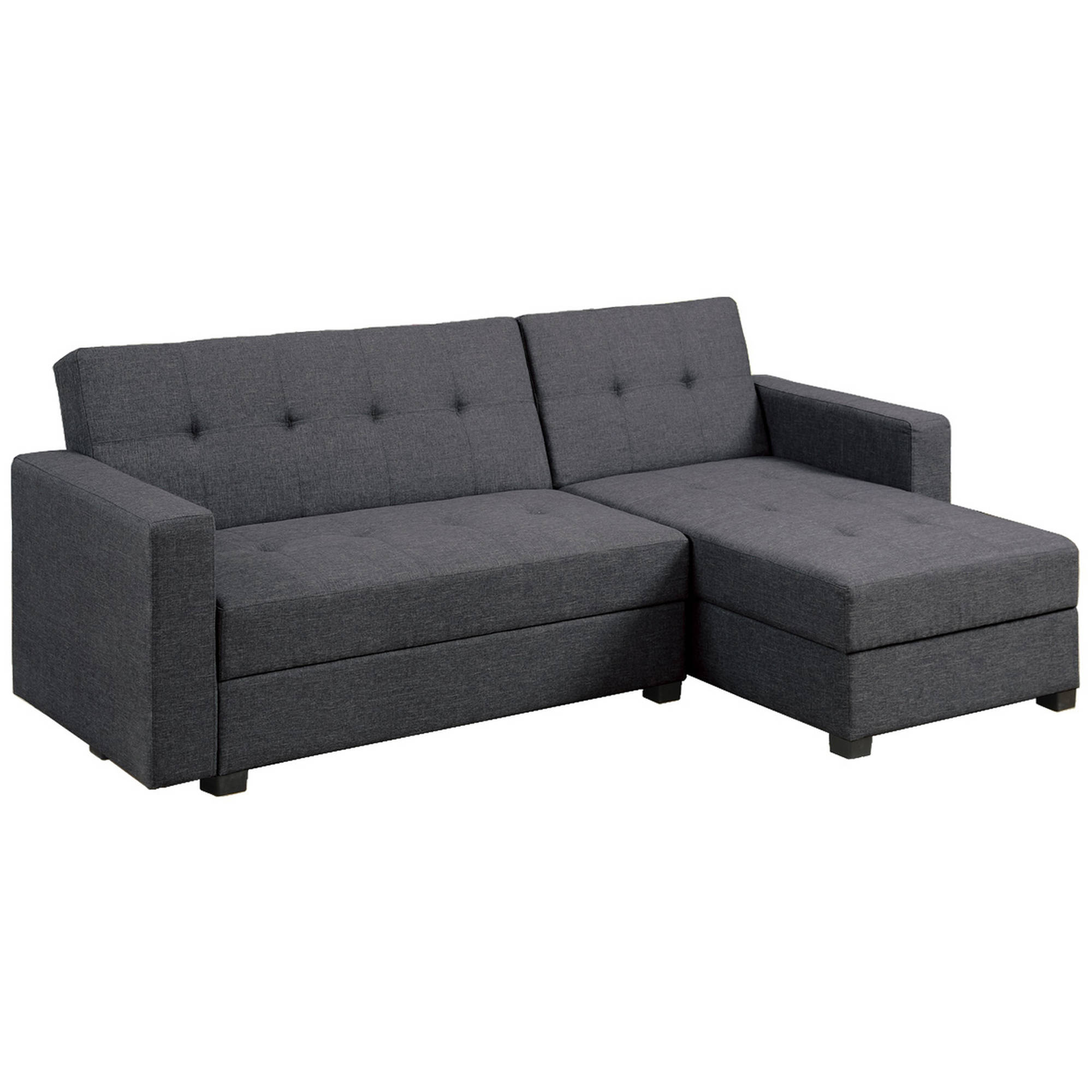 Bobkona Medora Linen-Like Polyfabric Left or Right Hand Chaise Adjustable Sectional with Compartment by Poundex