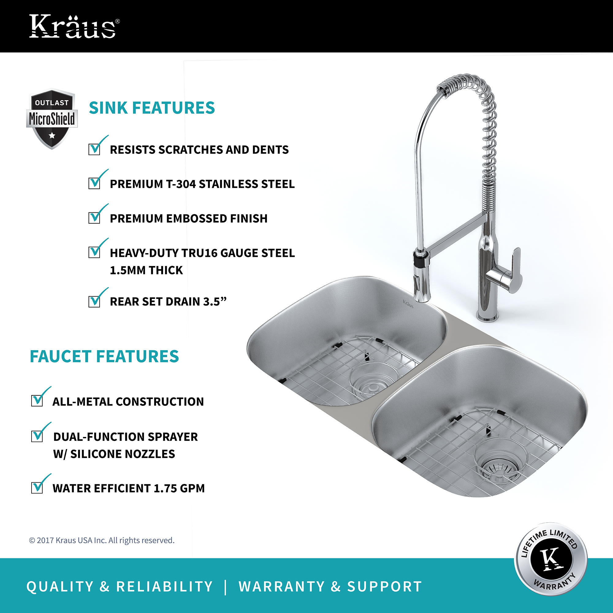 KRAUS Kitchen Combo with Outlast MicroShield™ Undermount Stainless ...