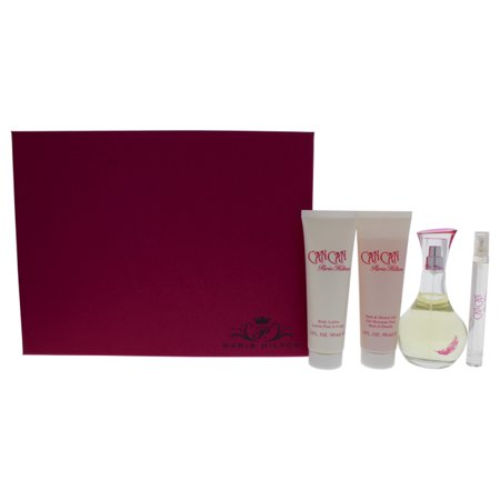 Can Can by Paris Hilton for Women - 4 Pc Gift Set 3.4oz EDP Spray, 0.34oz EDP Spray, 3oz Body Lotion, 3oz Bath and Shower Gel