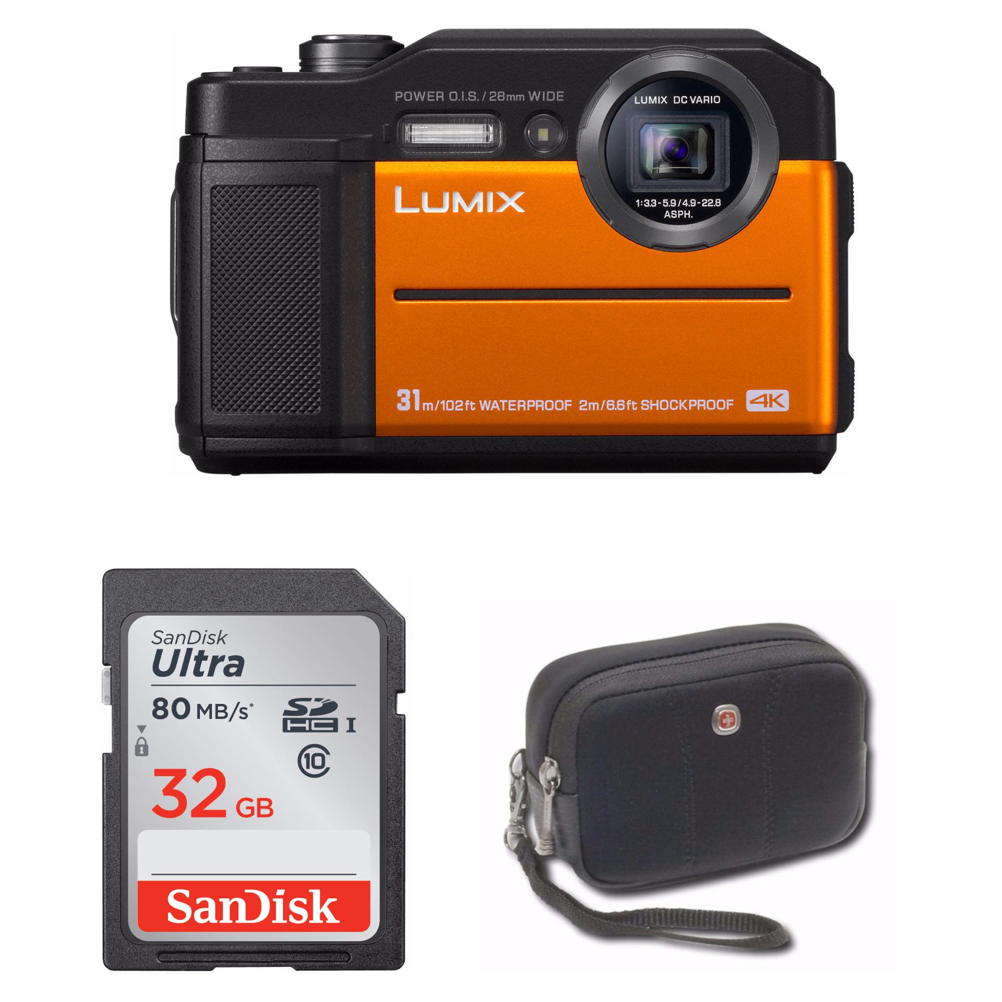 Panasonic DC-TS7A Lumix TS7 4K Waterproof Tough Camera (Orange) Bundle
