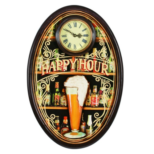 Wall Clock - Happy Hour With Pub Style Sign