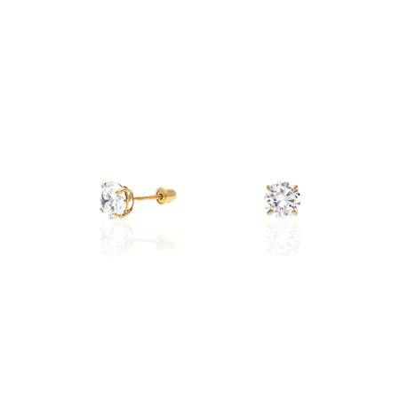 14k Yellow Gold Created Diamond Stud Screw Back Earrings 0.10Ct-4Ct ()