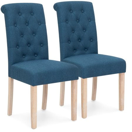 Best choice products set of 2 tufted high back parsons for Low back parsons dining chair