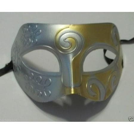 Silver Gray Gold Roman Greek Men Venetian Mardi Gras Party Masquerade Mask
