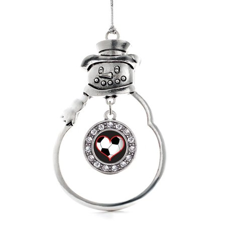 Heart Of A Soccer Player Circle Snowman Holiday Ornament (Soccer Snowman)