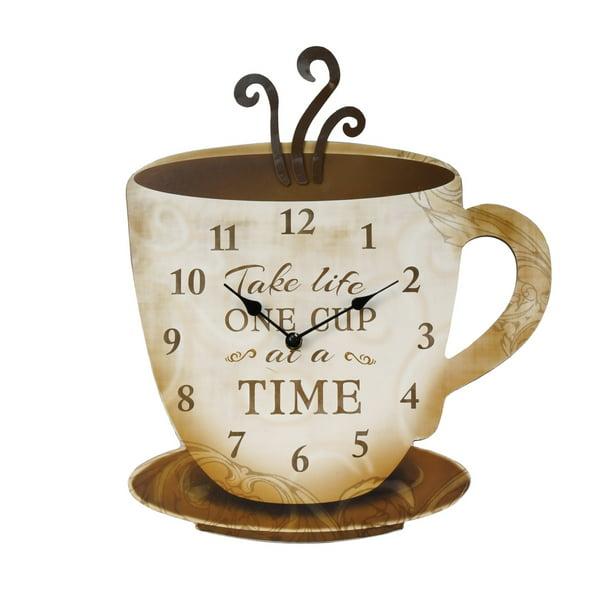 Rustic Decorative Coffee Cup Modern Analog Wall Clock Farmhouse Kitchen Decor Walmart Com Walmart Com