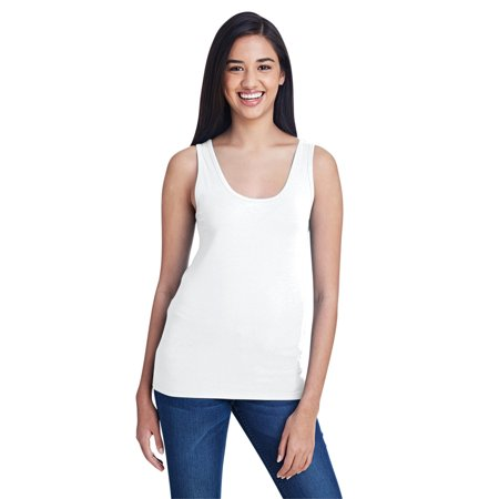 A Product of Anvil Ladies' Stretch Tank - WHITE - L [Saving and Discount on bulk, Code Christo] (Kaleidoscope Discount Code)