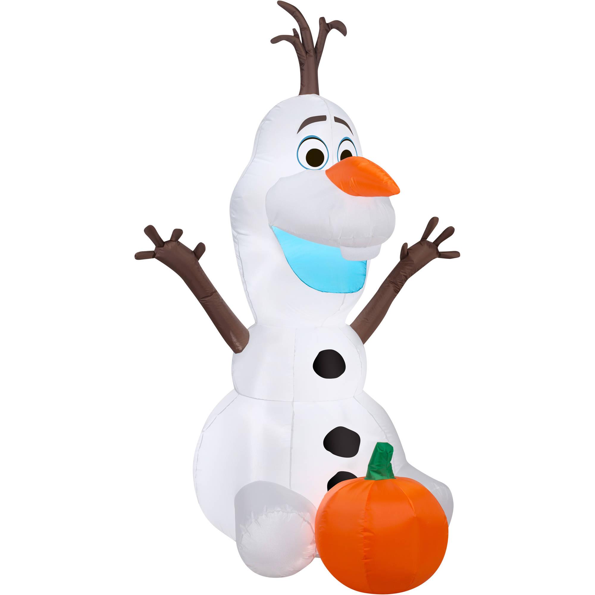 Frozen 5' Airblown Inflatable Frozen Olaf Holding Pumpkin ...