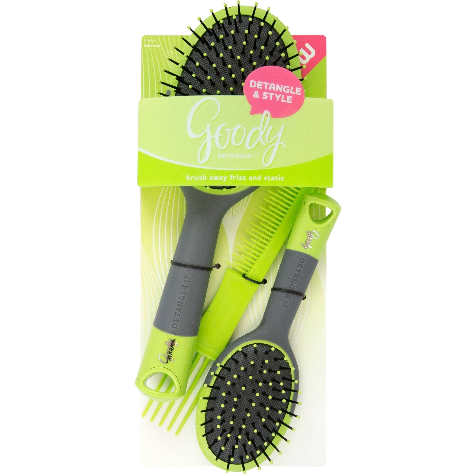 Goody Detangle It Oval Cushion Hair Brush and Comb Combo, 3 piece