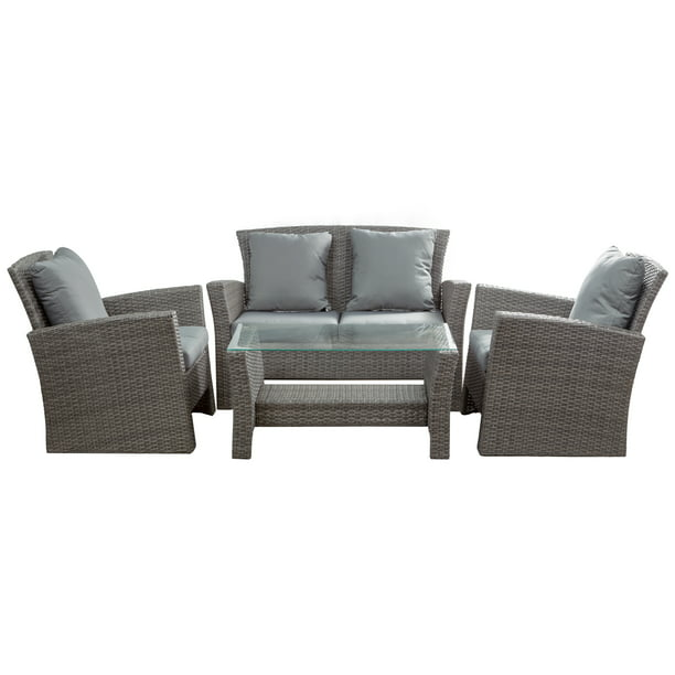 BELLEZE Brasillia Outdoor 4 Pcs Patio Conversation Set Wicker Rattan Sectional Sofa With Cushions & Coffee Table