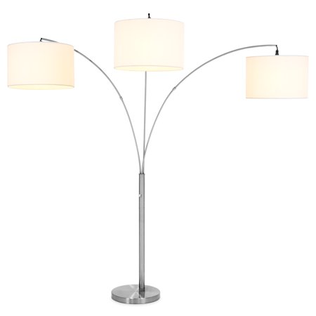 Best Choice Products Home Decor 3-Light Arc Floor Lamp w/ Infinite Dimming - Brushed Nickel, Woven White Shades