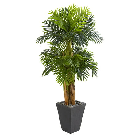 - Nearly Natural 5.5' Triple Areca Palm Artificial Tree in Slate Finish Planter