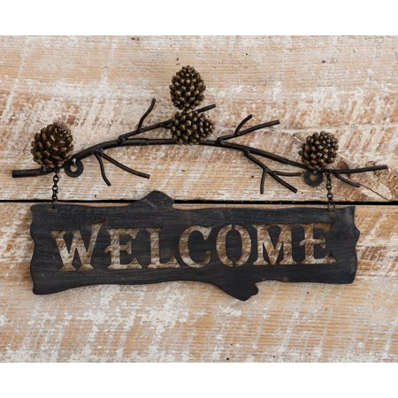 Pine Branches Metal Welcome Lodge Sign - Rustic Decor