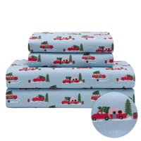 Twin Holiday Winter Microfiber Bedding Sheet Set Christmas Tree Truck Red White, and Blue